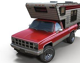 3D model Generic American pickup camper 1982