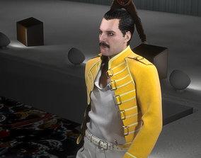 low-poly 3d model of Freddie Mercury singer