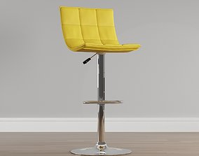 3D model Yellow vinyl padded bar stool