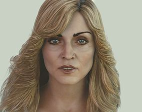 Madonna singer head photorealistic female 3d low-poly