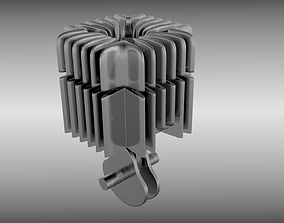 Two stroke cylinder and piston set 3D model