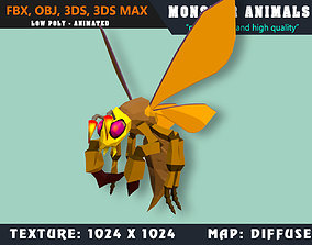 3D asset Low Poly Hornet Monster 54 Animated - Game