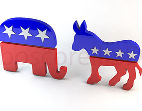 3D republican Democrat and Republican Party Symbols