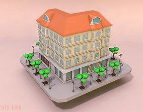 Cartoon City Rise Building Low Poly 3D asset