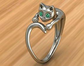 3D print model Ring Cat gem
