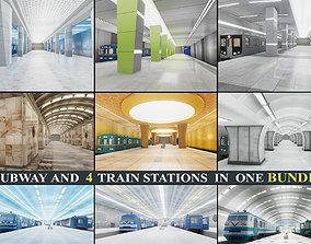 Subway and Train Stations Bundle - 10 Scenes 3D model