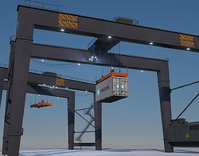 RTG Gantry Port Crane Low poly 3D model
