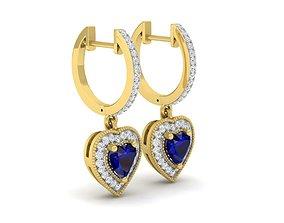 3D printable model Heart shape diamond earrings for woman