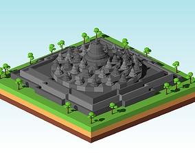 Cartoon Low Poly Borobudur Temple 3D asset