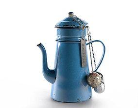 3D model Vintage Blue Teapot bells