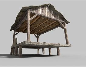 beach wooden hut 3D model