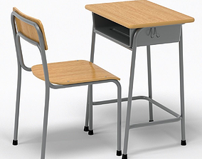 School Desk and Chair 3D model