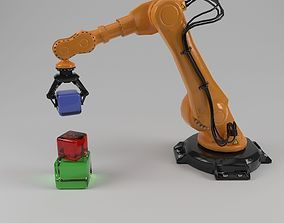 industrial robot arm 3D model rigged