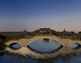 Touristic Landscape with Bridge and Boat in 3D model 1