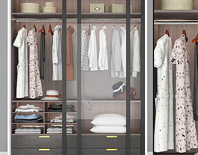 3D model Wardrobe with Clothes In The Bedroom