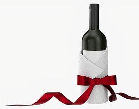 Wine bottle decorated mockup 3D