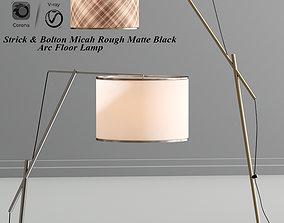 3D Strick Bolton Micah Rough Matte Black Arc Floor Lamp