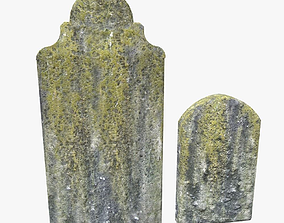 3D asset Tombstones with yellow moss