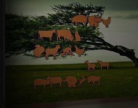 3D model Farm and wild animals