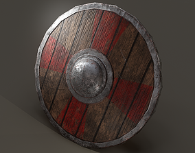 3D asset low-poly Wooden Shield