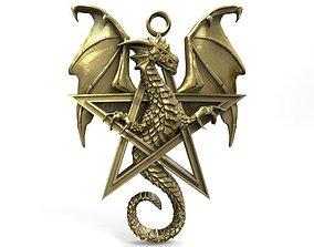 3D printable model Dragon pentagram pendant