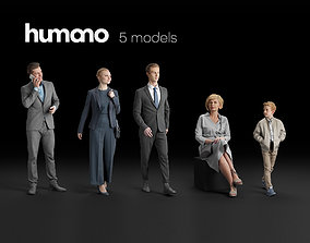 Humano 5-Pack - PEOPLE - WALKING - SITTING - 5x 3D models