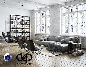 Living Room Interior Scene for Cinema 4D and Vray 3D model