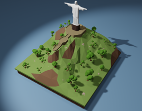 rigged VR / AR ready Christ Redeemer Low-poly 3D model