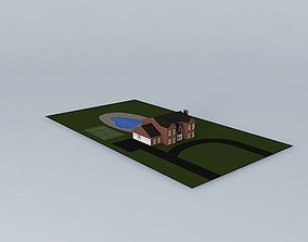 3D model LARGE HOUSE WITH POOL AND TENNIS COURT
