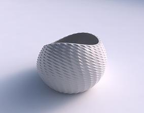 3D printable model Bowl skewed with grid piramides