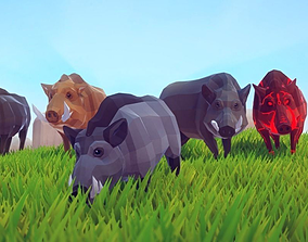 Poly Art Boars 3D asset