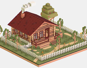 3D asset Isometric Village Wood Log House Cottage Garden