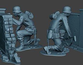 3D print model German soldier ww2 cover down G5