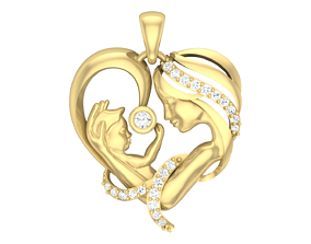 3D printable model Mother-Baby love Diamond Pendent