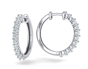 Sparkling diamond Hoop earrings 20mm size 3dmodel
