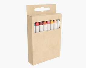 3D model Crayons in a hanging box