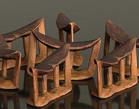 3D asset Headrest Africa Wood Furniture Prop 19