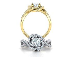 3D print model Engagement Diamond ring Spiral design 4