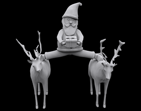 3D printable model man Santa epic split