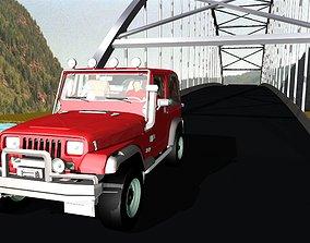 Suspension Bridge Jeep 3D model