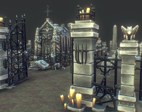 3D asset Low Poly Cemetery Starter Set