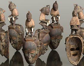 Afrikan Mask Carved Wood 50 3D model