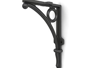 Wrought iron shelf bracket 05 3D model