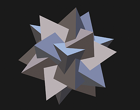 5 tetrahedron star shaped icosahedron 3D print model