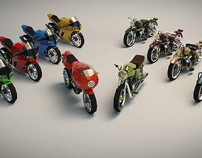 Low Poly Motorcycle Pack 01 3D
