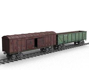 Railroad car on rails 3D model