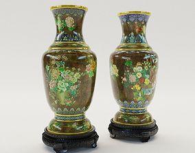 Paar cloisonne enamel vases - Chine about 1900 3D