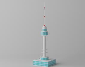 Cartoon N Seoul Tower Landmark 3D model realtime