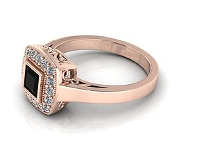 3D print model Princess Cut Gold Ring Engagement Ring