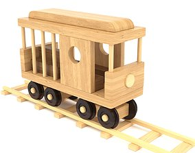 Wooden toy railway carriage 01 3D model